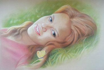 Настоящий портрет пастелью для любимой девушки в Луганск, просто и со вкусом!