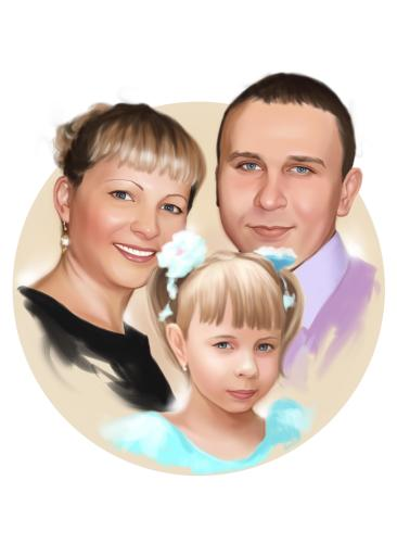 Семейный портрет по фото на холсте в Луганске — правильный подарок!
